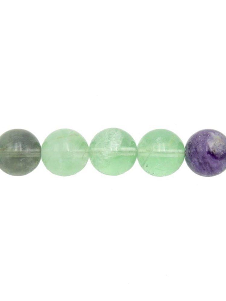 perle ronde fluorite multicolore 12mm