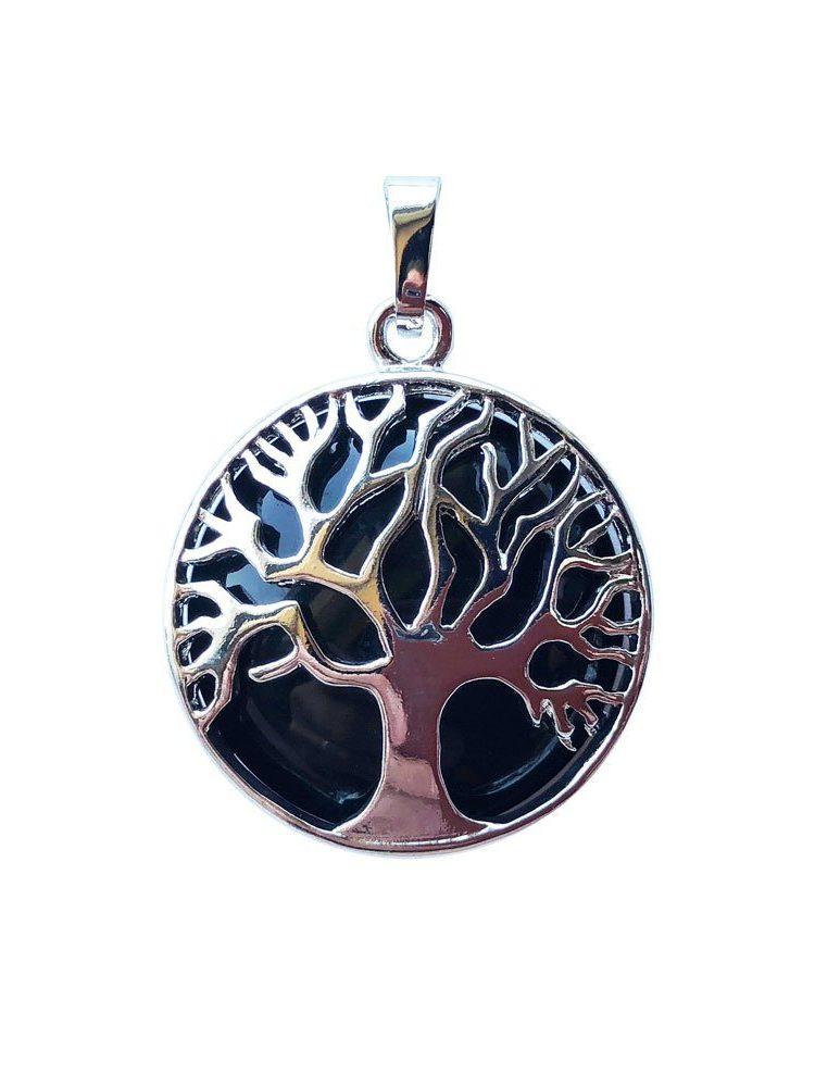 pendentif agate noire arbre de vie