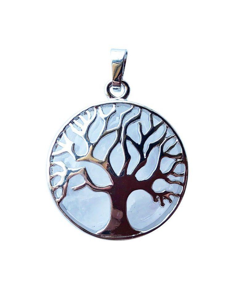 pendentif cristal de roche arbre de vie