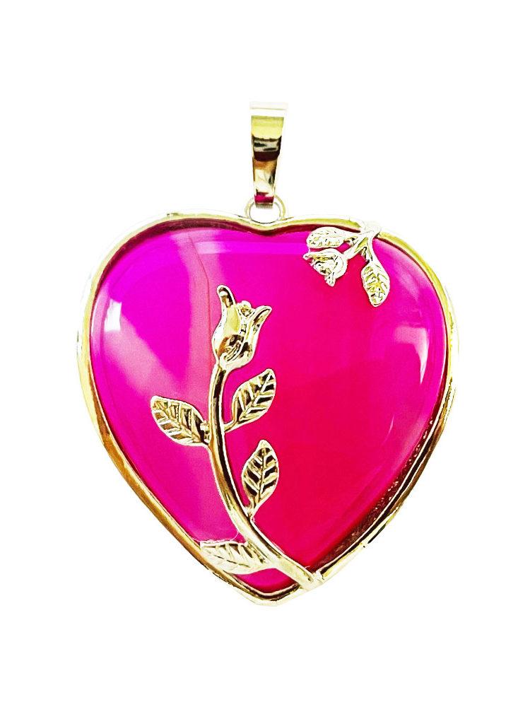 Pendentif Agate rose Coeur fleuri