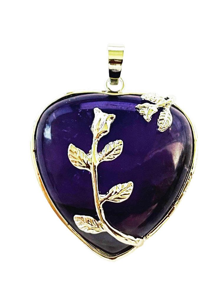 Pendentif Améthyste Coeur fleuri
