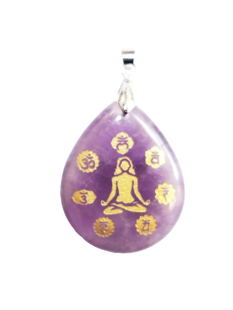 pendentif améthyste yoga è chakras