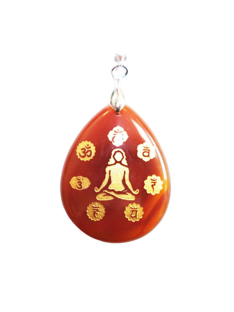 pendentif cornaline yoga 7 chakras