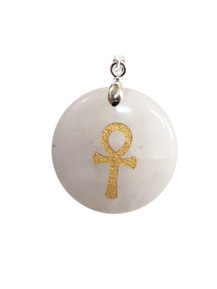 pendentif cristal de roche croix égyptienne