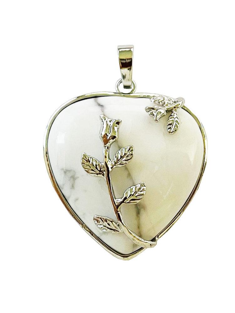 Pendentif Howlite Coeur fleuri
