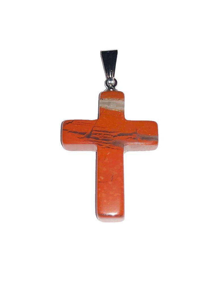 pendentif jaspe rouge croix