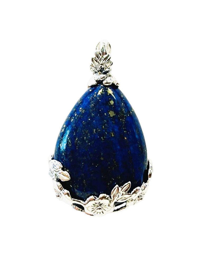 Pendentif Lapis-lazuli Goutte fleurie