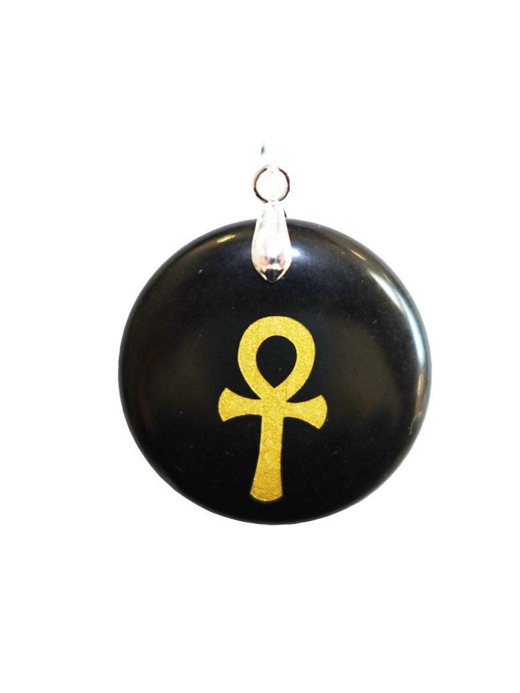 pendentif obsidienne noire croix égyptienne