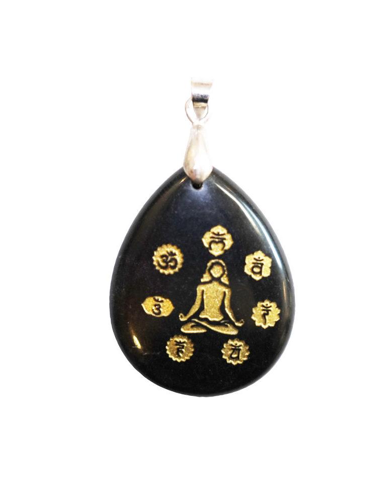 pendentif obsidienne noire yoga 7 chakras
