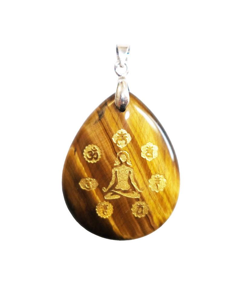 pendentif oeil de tigre yoga 7 chakras