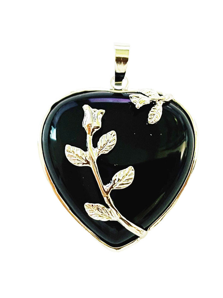 Pendentif Onyx Coeur fleuri