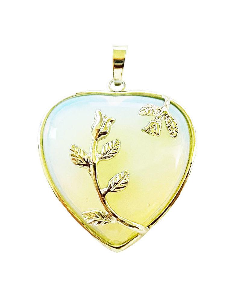 Pendentif Opale synthéthique Coeur fleuri