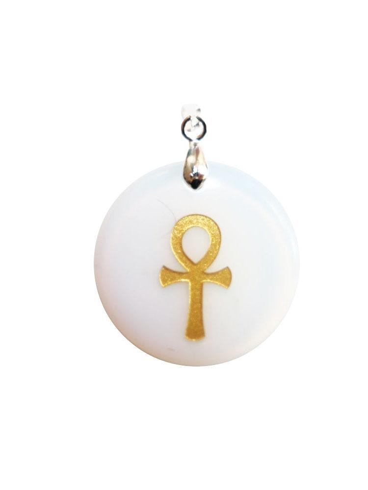 pendentif opale synthétique croix égyptienne