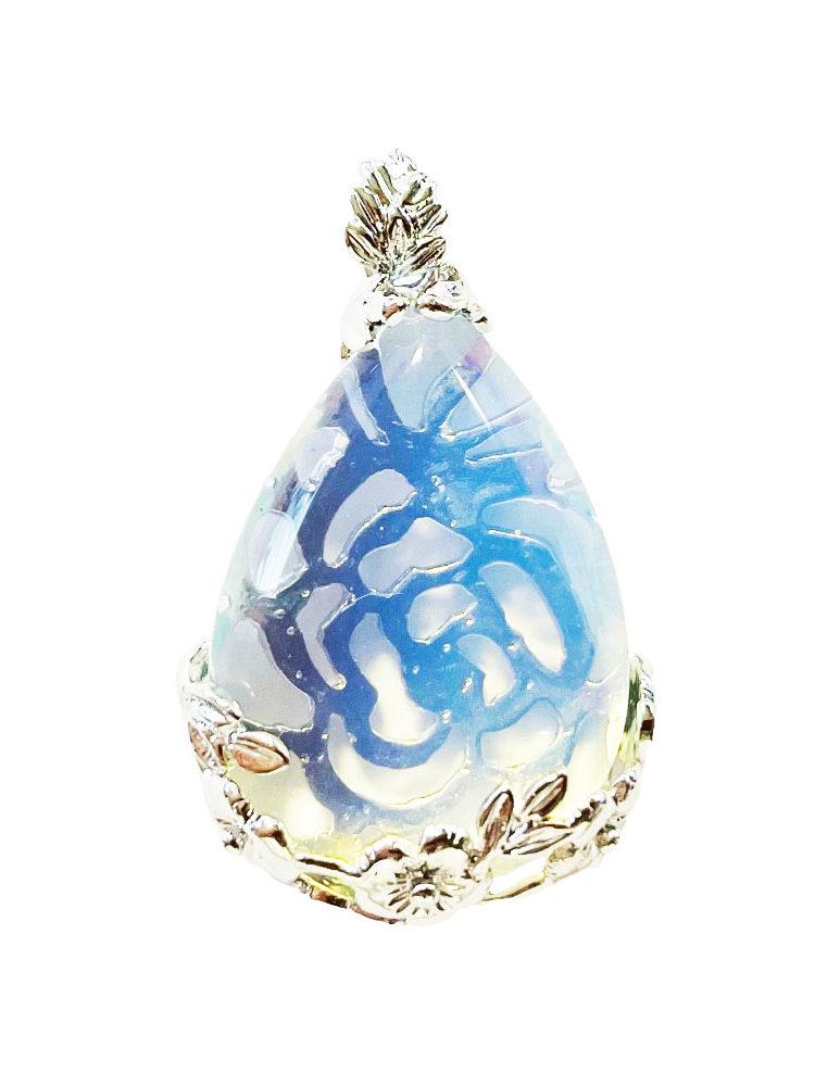 Pendentif Opale synthétique Goutte fleurie