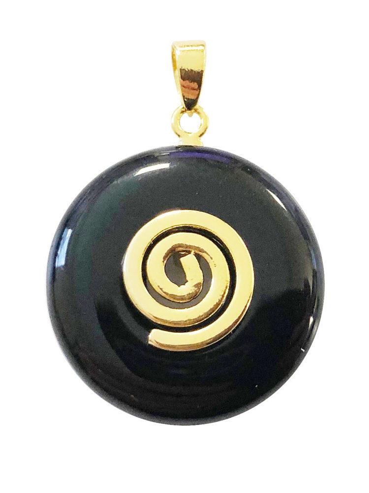 pendentif pi chinois donut agate noire doré 20mm
