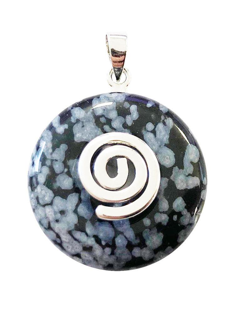 pendentif pi chinois donut obsidienne neige argenté 20mm