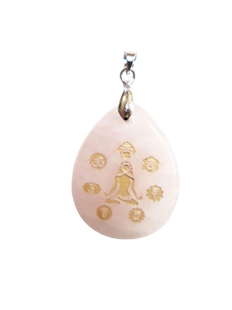 pendentif quartz rose yoga 7 chakras