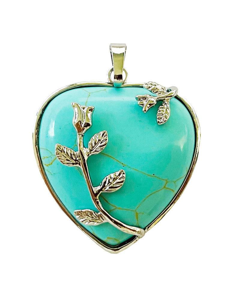Pendentif Turquoise stabilisée Coeur fleuri