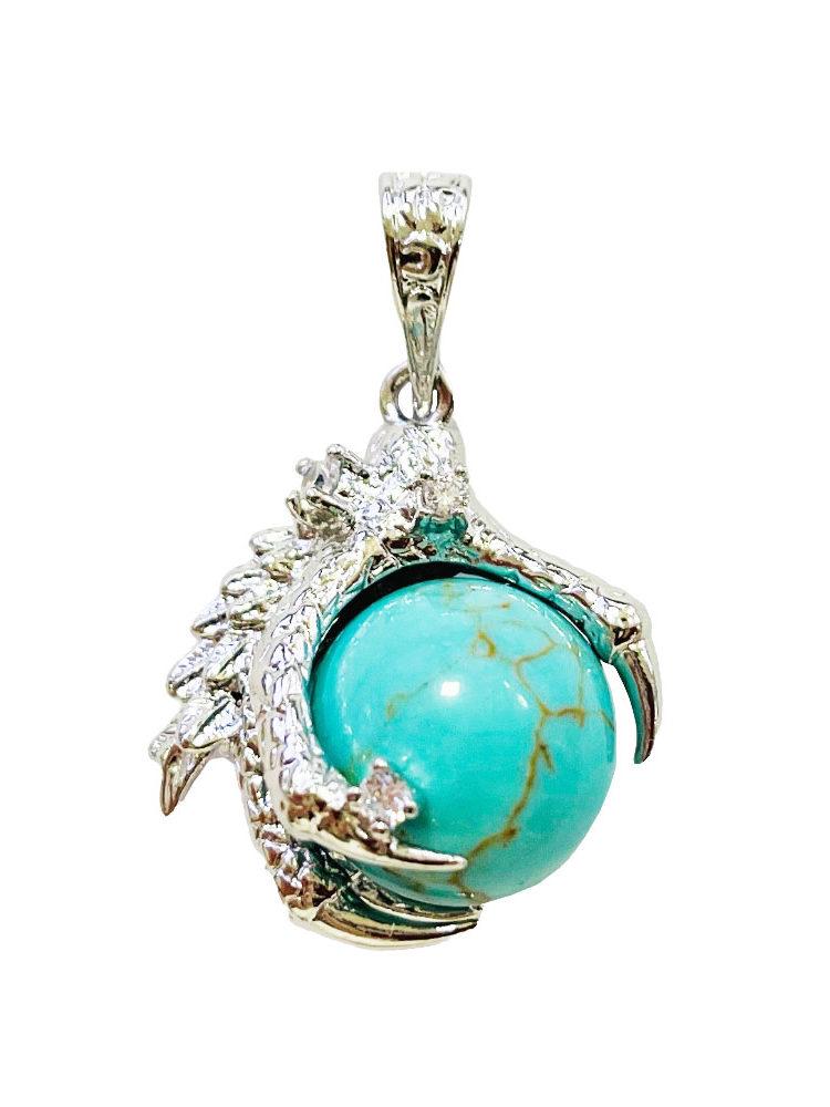 Pendentif Turquoise stabilisée Main de Dragon