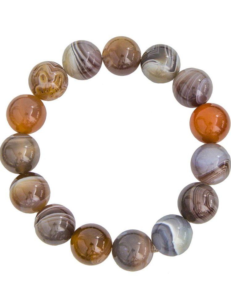 bracelet agate du botswana pierres boules 12mm