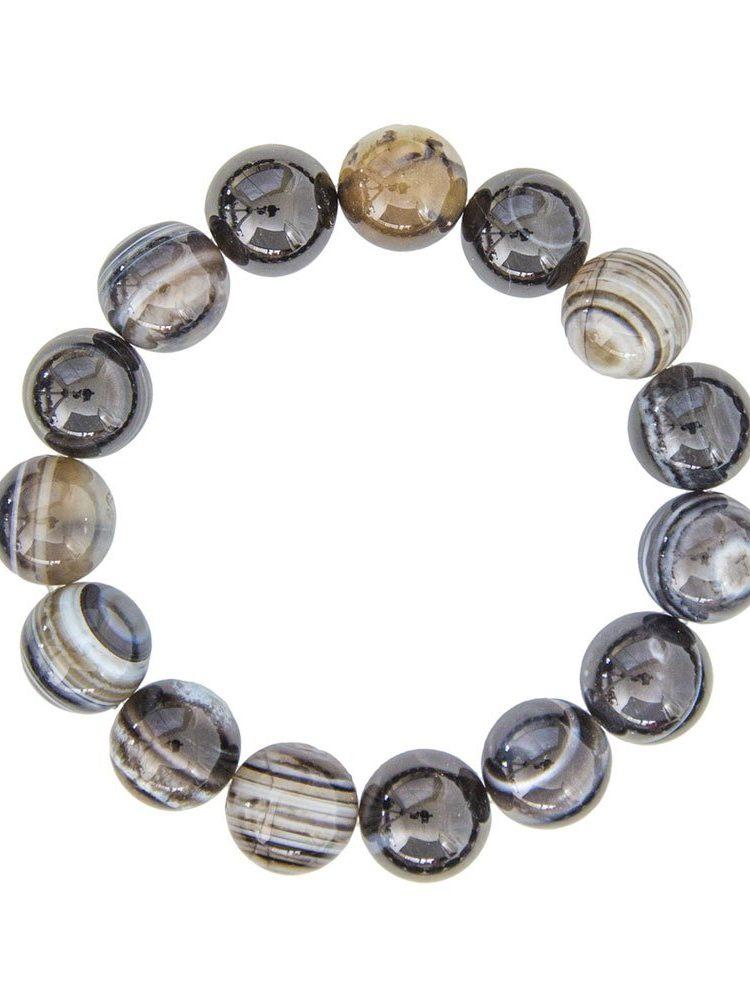 bracelet agate zonée noire pierres boules 12mm