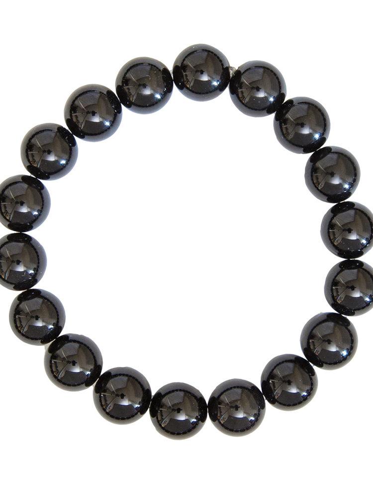 bracelet agate noire pierres boules 10mm