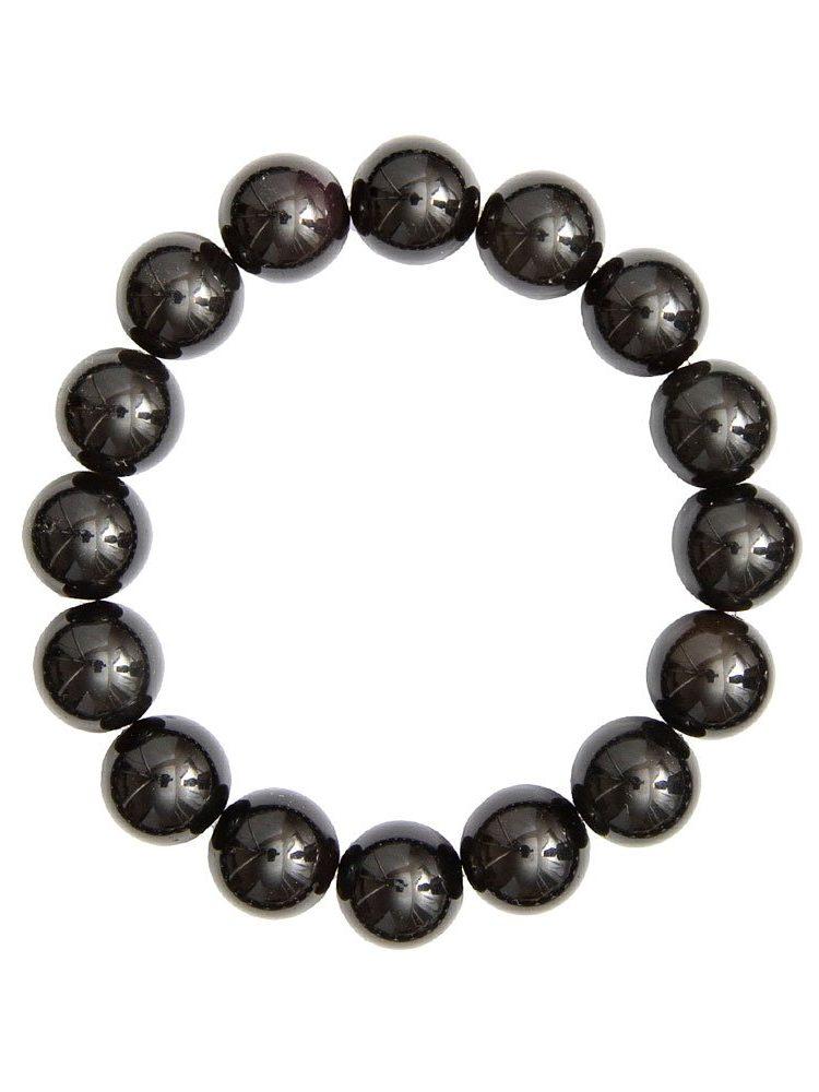 bracelet agate noire pierres boules 12mm