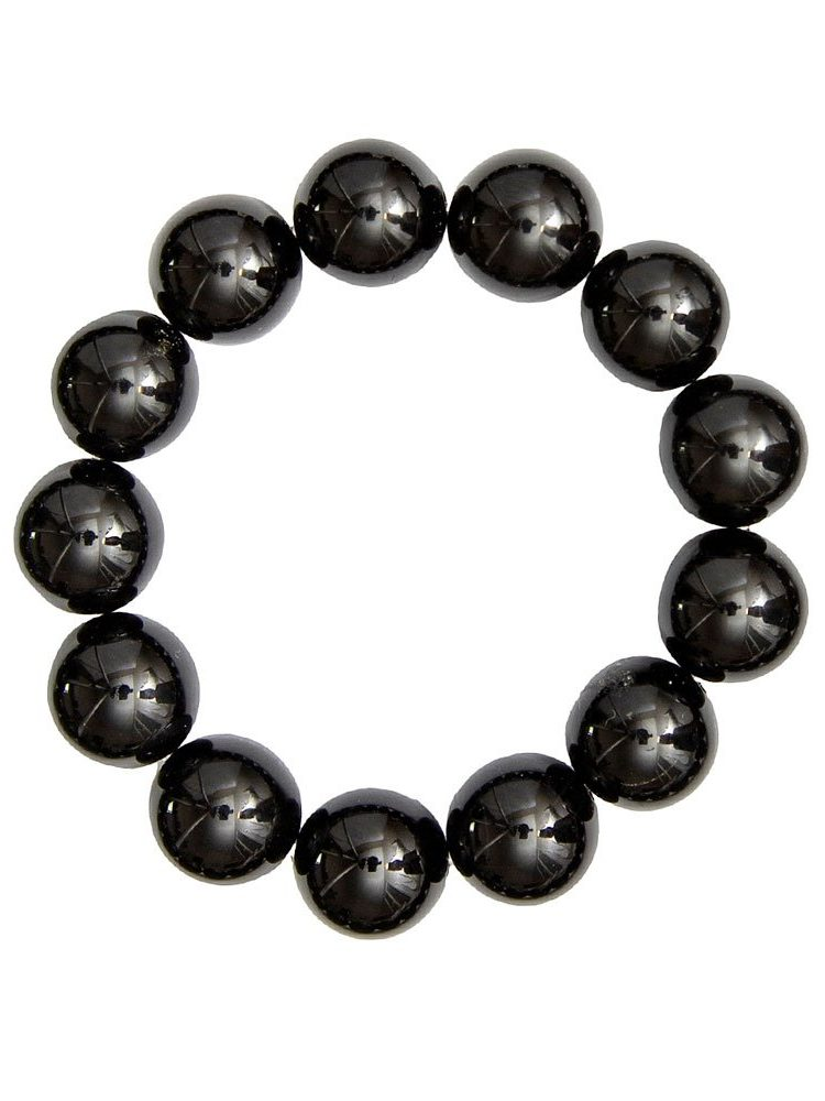 bracelet agate noire pierres boules 14mm