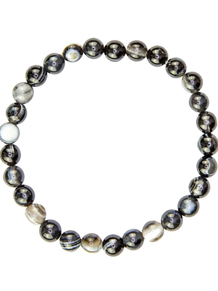 bracelet agate zonee noire pierres boules 8mm