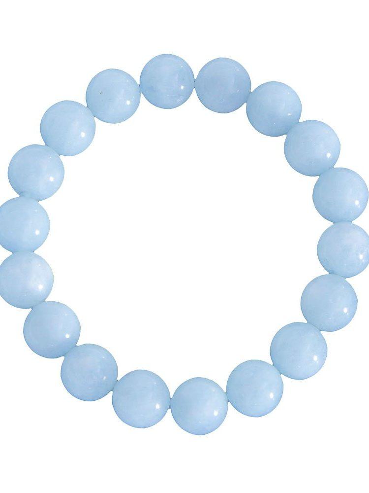 bracelet aigue marine pierres boules 10mm
