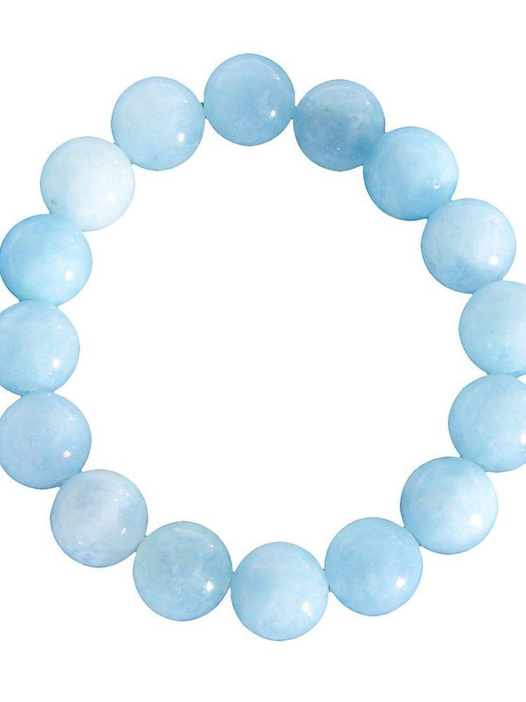 bracelet aigue marine pierres boules 12mm