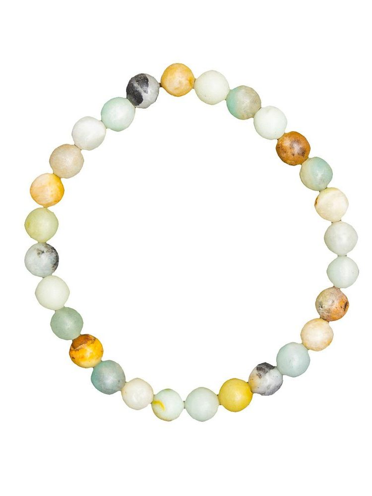 bracelet amazonite multicolore pierres boules 6mm