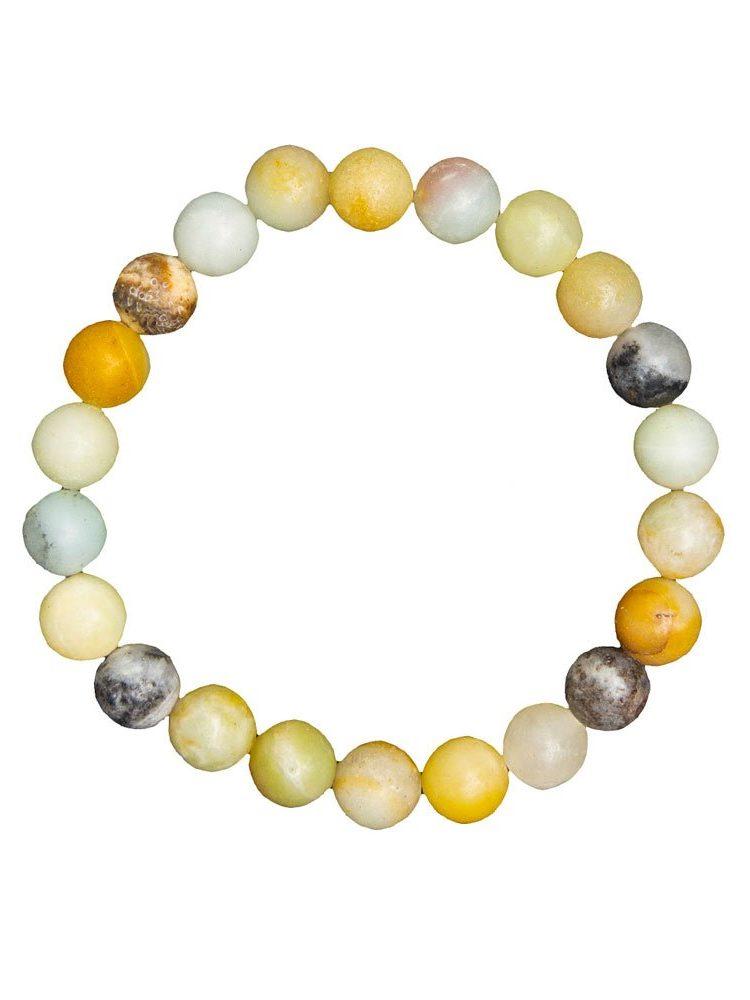 bracelet amazonite multicolore pierres boules 8mm