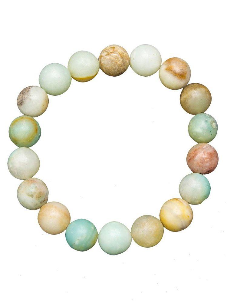 bracelet amazonite multicolore pierres boules 10mm