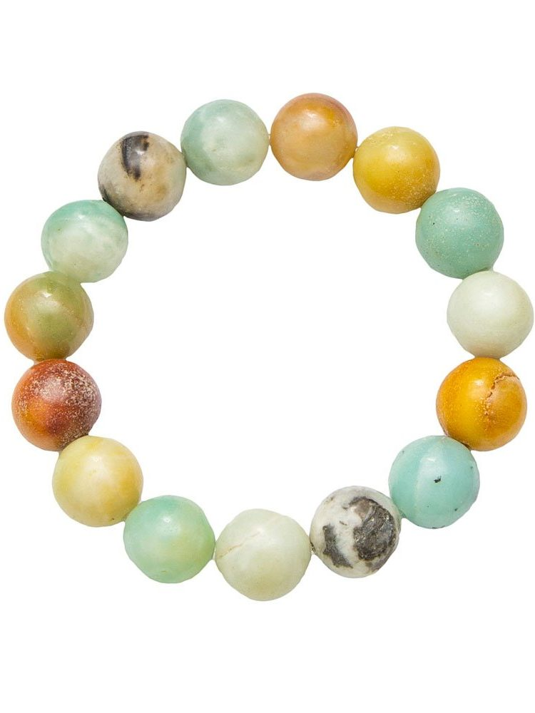 bracelet amazonite multicolore pierres boules 12mm