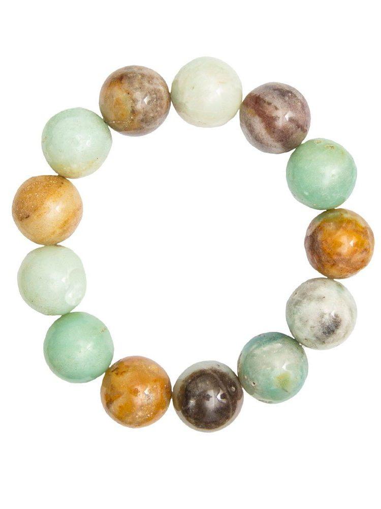 bracelet amazonite multicolore pierres boules 14mm