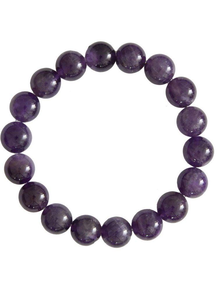 bracelet améthyste pierres boules 10mm