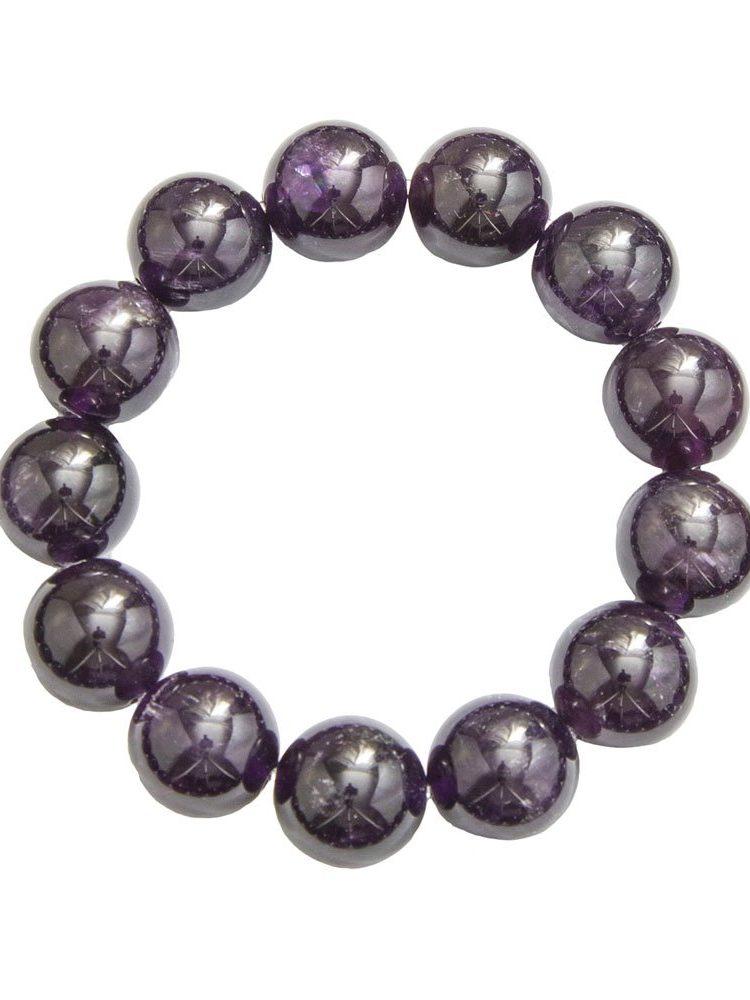 bracelet améthyste pierres boules 14mm