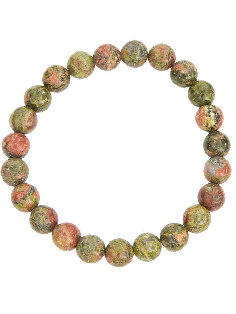 bracelet unakite pierres boules 8mm