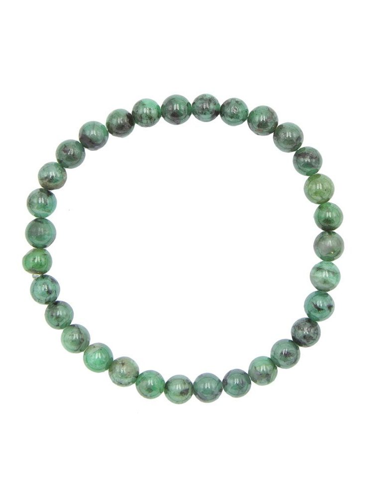 bracelet émeraude pierres boules 6mm
