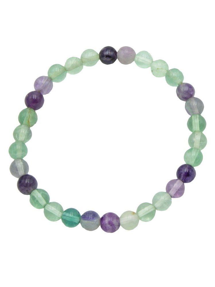 bracelet fluorite multicolore pierres boules 6mm