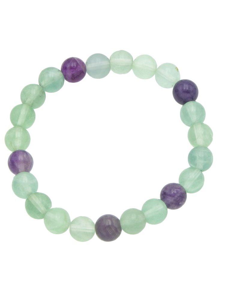 bracelet fluorite multicolore pierres boules 8mm