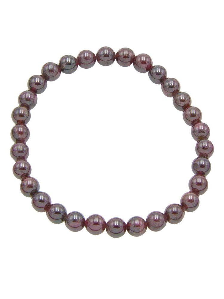 bracelet grenat rouge pierres boules 6mm
