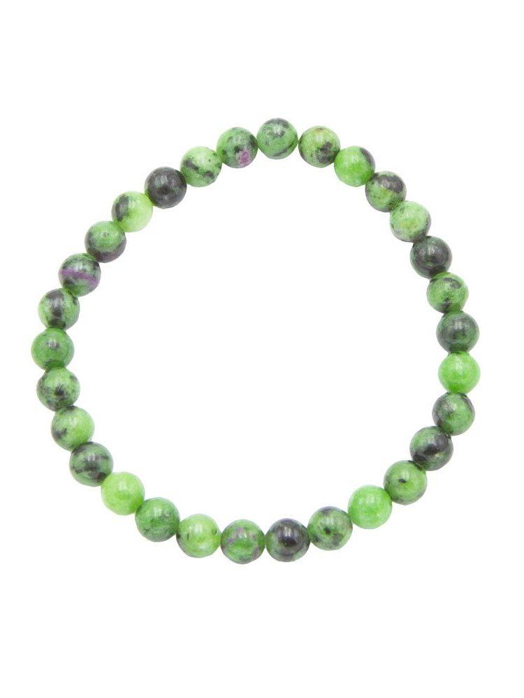 bracelet rubis sur zoisite pierres boules 6mm