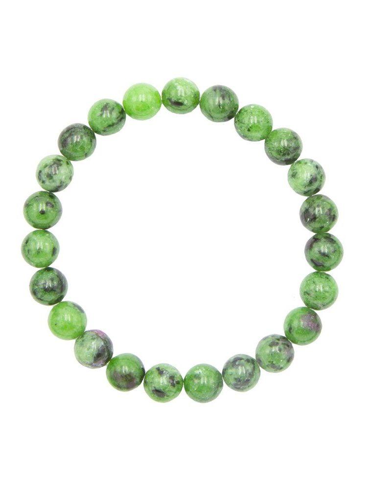 bracelet rubis sur zoisite pierres boules 8mm